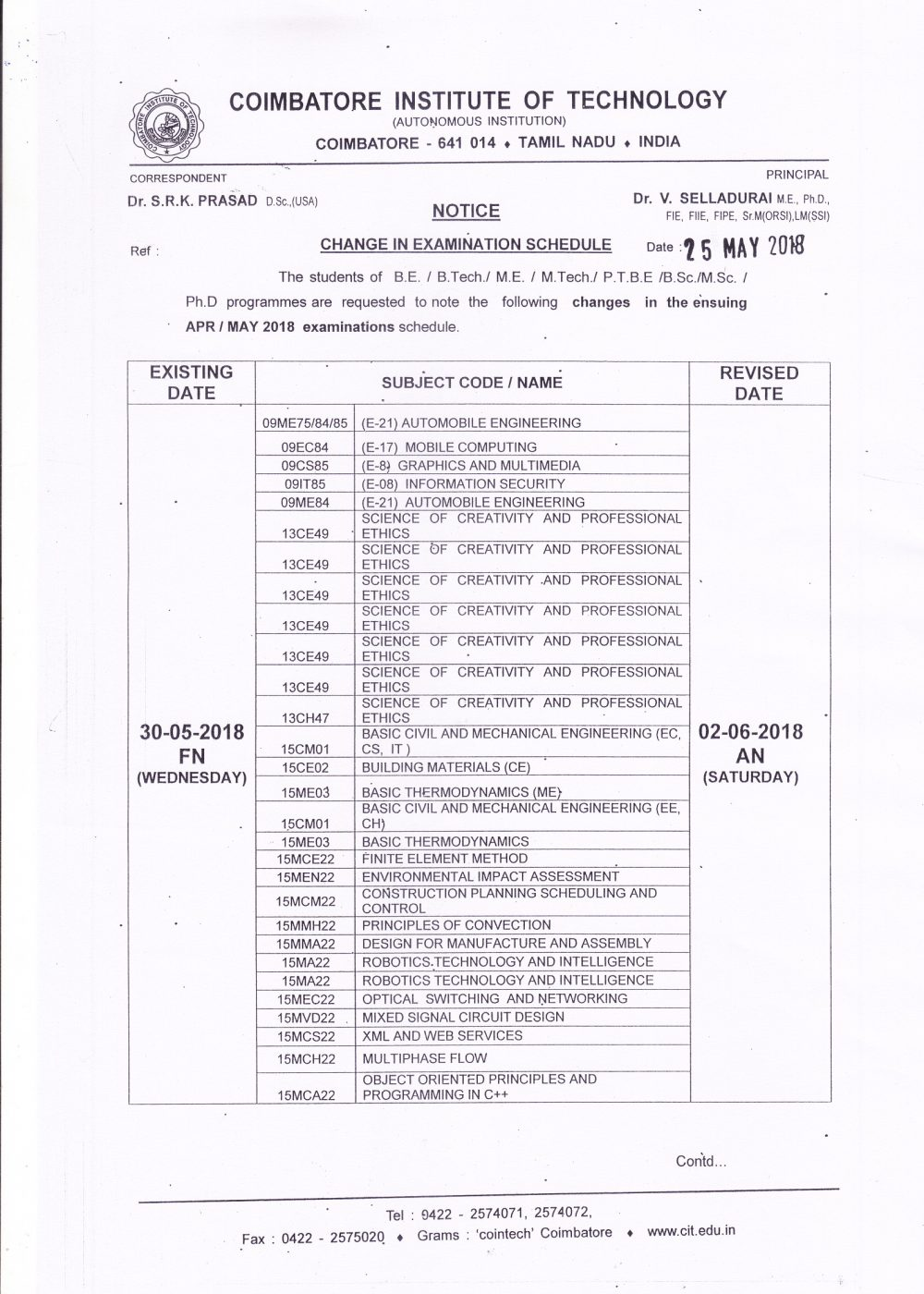 Change in Exam Schedule1
